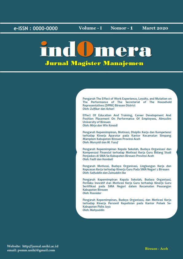 JURNAL MAGISTER MANAJEMEN (INDOMERA)