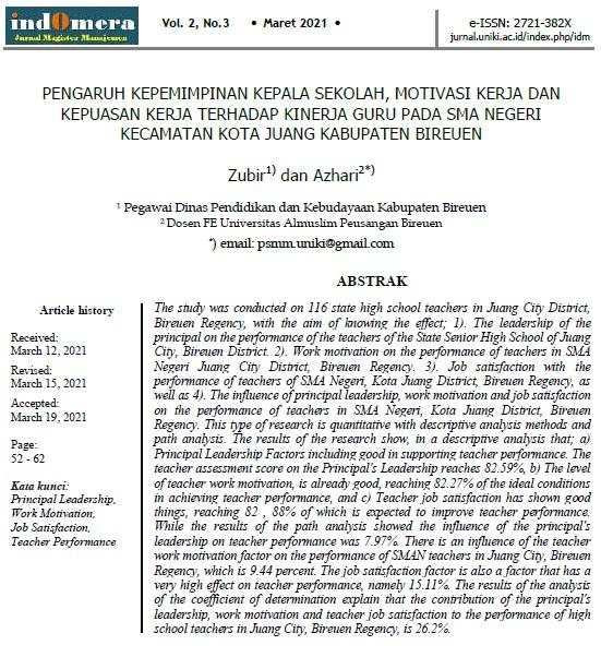 Penelitian Kinerja Guru SMA di Kec. Kota Juang Kabupaten Bireuen