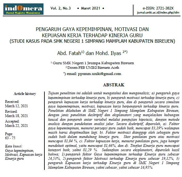 Penelitian Kinerja guru SMKN 1 Simpang Mamplam Kabupaten Bireuen