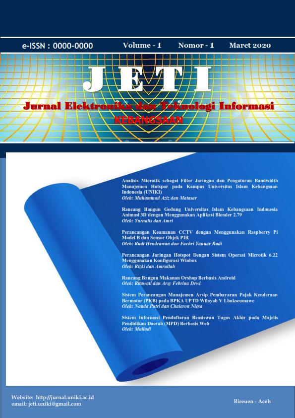 JURNAL ELEKTRONIK DAN TEKNOLOGI INFORMASI (JETI)